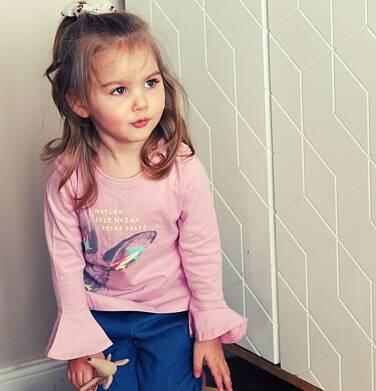 Endo - Bluzka z długim rękawem dla dziewczynki, z zającem, rózowa, 2-8 lat D04G020_1 211