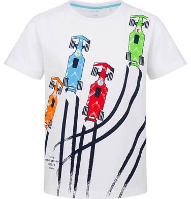 Endo - T-shirt z krótkim rękawem dla chłopca, z samochodowym wyścigiem, biała, 9-13 lat C03G645_1