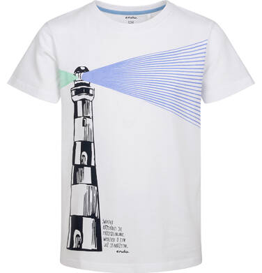 Endo - T-shirt z krótkim rękawem dla chłopca, z latarnią morską, biały, 2-8 lat C05G136_1 1