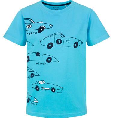 Endo - T-shirt z krótkim rękawem dla chłopca, z samochodami, niebieski, 9-13 lat C03G648_1