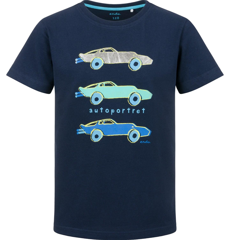 Endo - T-shirt z krótkim rękawem dla chłopca, portrety samochodowe, granatowy, 2-8 lat C03G149_1