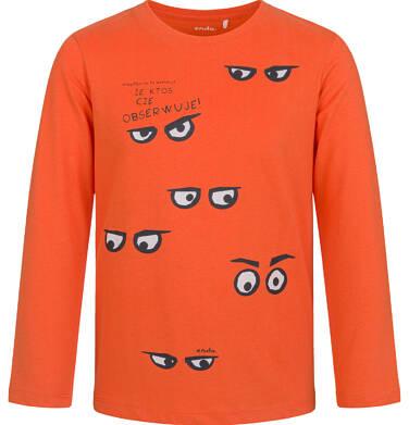 T-shirt z długim rękawem dla chłopca, z motywem oczu, pomarańczowy, 5-8 lat C03G204_1