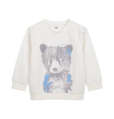 Bluza dla dziecka do 2 lat, z misiem, kremowa N04C027_1
