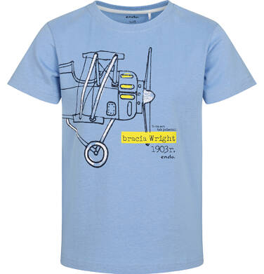 T-shirt z krótkim rękawem dla chłopca, z samolotem, niebieski, 2-8 lat C05G138_1