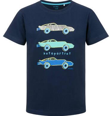 Endo - T-shirt z krótkim rękawem dla chłopca, portrety samochodowe, granatowy, 9-13 lat C03G649_1