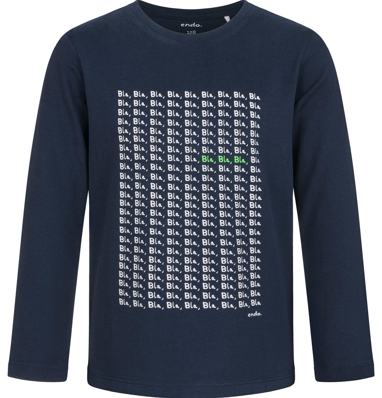 Endo - T-shirt z długim rękawem dla chłopca, granatowy, 5-8 lat C03G206_1