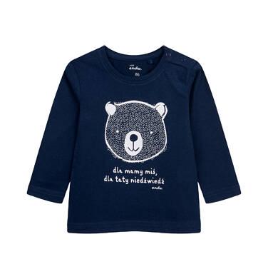 T-shirt z długim rękawem dla dziecka do 2 lat, z misiem, granatowy N04G050_1