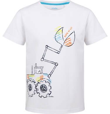 Endo - T-shirt z krótkim rękawem dla chłopca, z koparką, biały, 2-8 lat C03G150_1 31