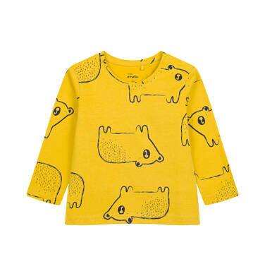 T-shirt z długim rękawem dla dziecka do 2 lat, w misie, żółty N04G053_1