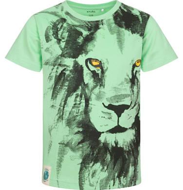 Endo - T-shirt z krótkim rękawem dla chłopca, z lwem, zielony, 9-13 lat C05G168_2 27