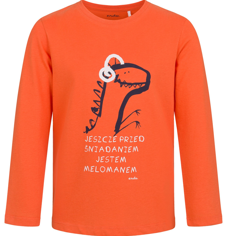 Endo - T-shirt z długim rękawem dla chłopca, z dinozaurem, pomarańczowy, 2-8 lat C03G208_1