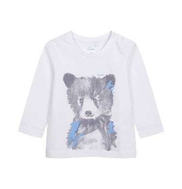 T-shirt z długim rękawem dla dziecka do 2 lat, z misiem, biały N04G055_1