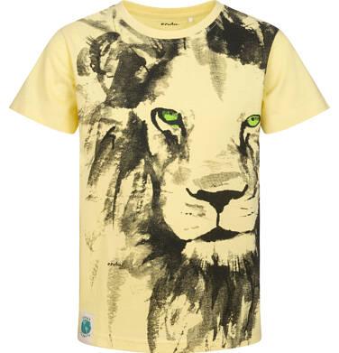 T-shirt z krótkim rękawem dla chłopca, z lwem, żółty, 9-13 lat C05G168_3