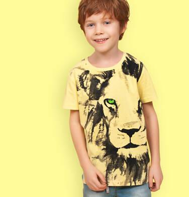Endo - T-shirt z krótkim rękawem dla chłopca, z lwem, żółty, 9-13 lat C05G168_3 26