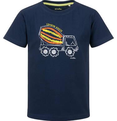 Endo - T-shirt z krótkim rękawem dla chłopca, z betoniarką, granatowy, 2-8 lat C03G152_1 14