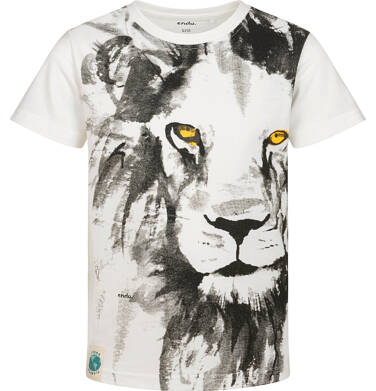 T-shirt z krótkim rękawem dla chłopca, z lwem, biały, 2-8 lat C05G169_1