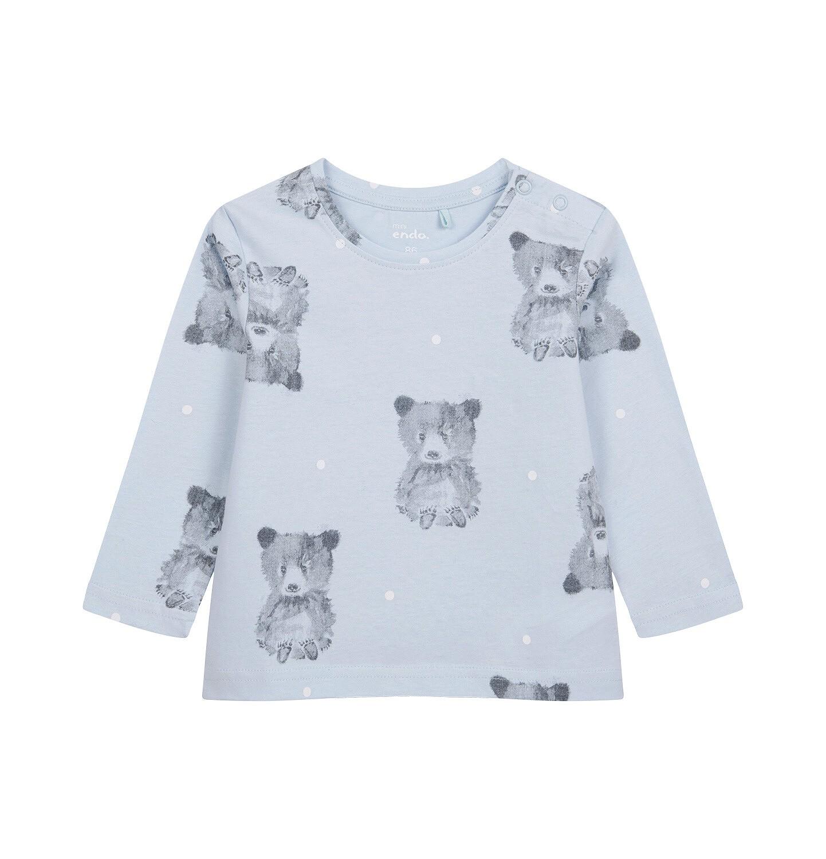 Endo - T-shirt z długim rękawem dla dziecka do 2 lat, w misie, niebieski N04G057_1