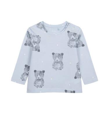 T-shirt z długim rękawem dla dziecka do 2 lat, w misie, niebieski N04G057_1