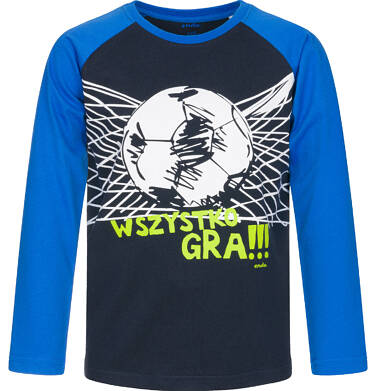 T-shirt z długim rękawem dla chłopca, wszystko gra, granatowy, 9-13 lat C92G528_1