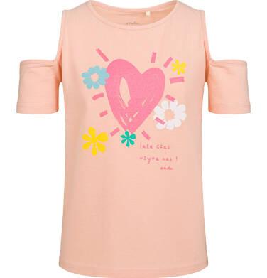 Bluzka z krótkim rękawem dla dziewczynki, z motywem serca, z odsłoniętymi ramionami, brzoskwiniowa, 2-8 lat D03G031_1