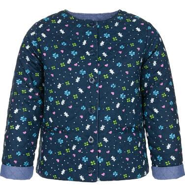Endo - Dwustronna kurtka dla dziewczynki 3-8 lat, pikowana, kwiatowy deseń D91A010_1