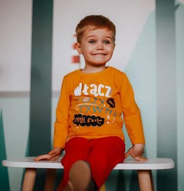 Endo - T-shirt z długim rękawem dla chłopca, z pozytywnym napisem, musztardowy, 2-8 lat C03G215_1,2