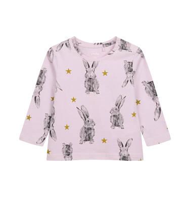 Bluzka z długim rękawem dla dziecka do 2 lat, w zające, różowa N04G065_1