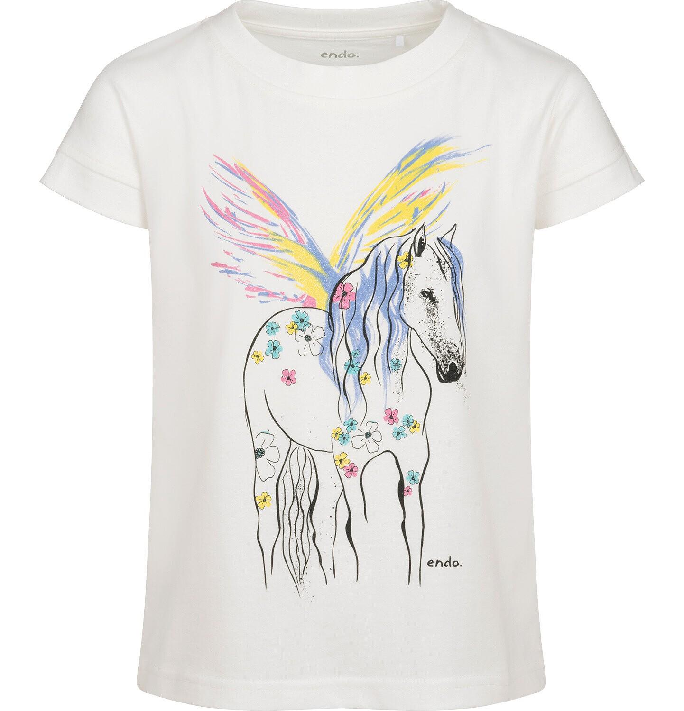 Endo - T-shirt z krótkim rękawem dla dziewczynki, z pegazem, kremowy, 9-13 lat D05G008_1