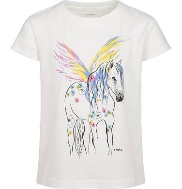 Endo - T-shirt z krótkim rękawem dla dziewczynki, z pegazem, kremowy, 9-13 lat D05G008_1 75
