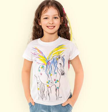Endo - T-shirt z krótkim rękawem dla dziewczynki, z pegazem, kremowy, 9-13 lat D05G008_1,2