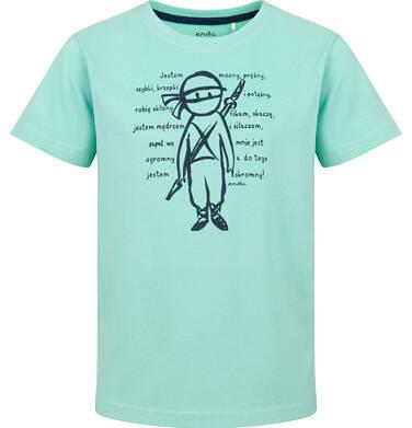 Endo - T-shirt z krótkim rękawem dla chłopca, z ninja, miętowy, 2-8 lat C03G222_1