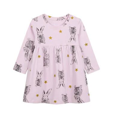 Sukienka dla dziecka do 2 lat, deseń w zające N04H015_1