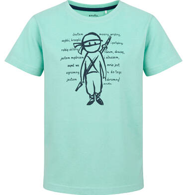 Endo - T-shirt z krótkim rękawem dla chłopca, z ninja, mętowy, 9-13 lat C03G722_1