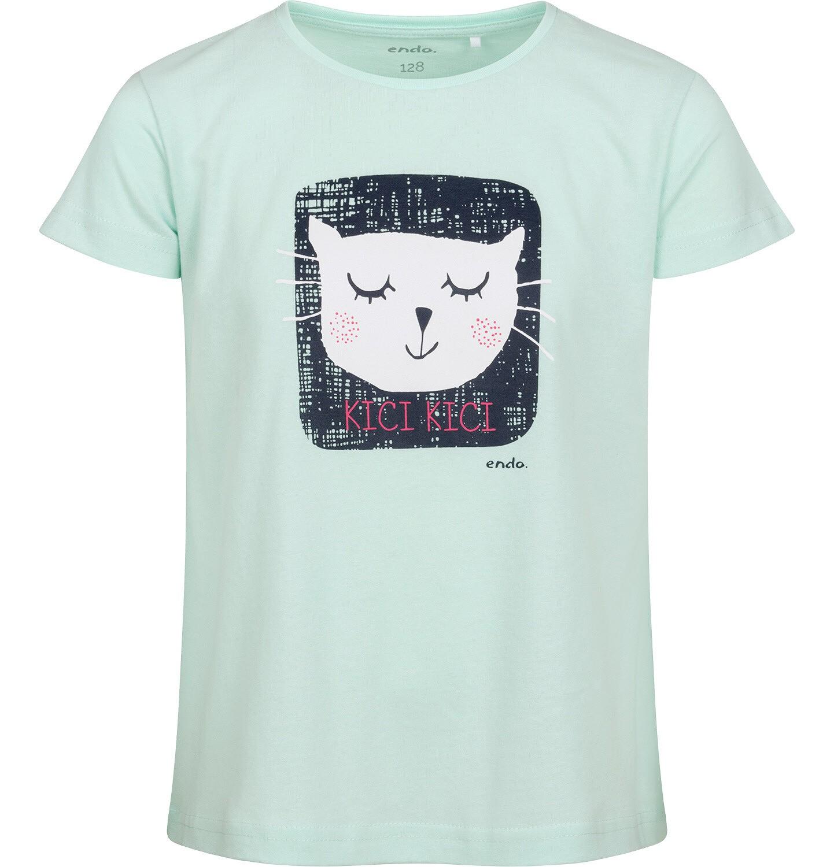 Endo - T-shirt z krótkim rękawem dla dziewczynki, z kotem, zielony, 2-8 lat D05G084_1