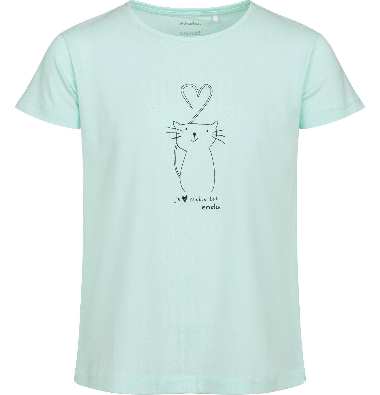 Endo - T-shirt z krótkim rękawem dla dziewczynki, z kotem, zielony, 2-8 lat D05G105_1