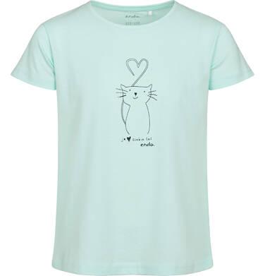 Endo - T-shirt z krótkim rękawem dla dziewczynki, z kotem, zielony, 2-8 lat D05G105_1 10