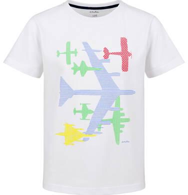 Endo - T-shirt z krótkim rękawem dla chłopca, z samolotami, biały, 9-13 lat C03G726_1