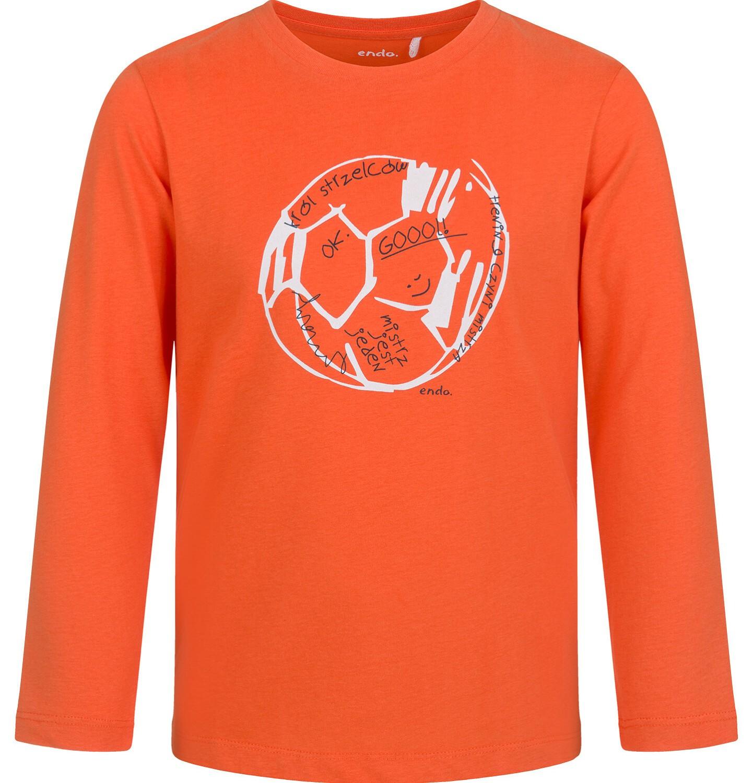 Endo - T-shirt z długim rękawem dla chłopca, z piłką, pomarańczowy, 9-13 lat C03G683_1