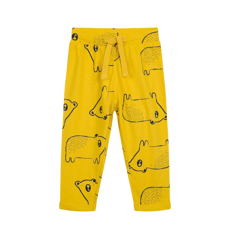 Endo - Spodnie dresowe dla dziecka do 2 lat, w misie, żółte N04K020_2