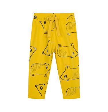 Spodnie dresowe dla dziecka do 2 lat, w misie, żółte N04K020_2