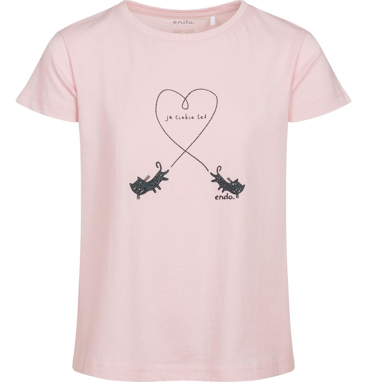 Endo - T-shirt z krótkim rękawem dla dziewczynki, z kotami, różowy, 2-8 lat D05G106_1