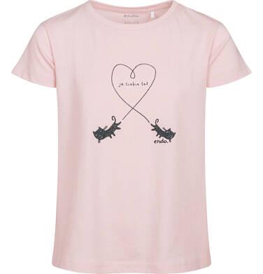 Endo - T-shirt z krótkim rękawem dla dziewczynki, z kotami, różowy, 2-8 lat D05G106_1 9