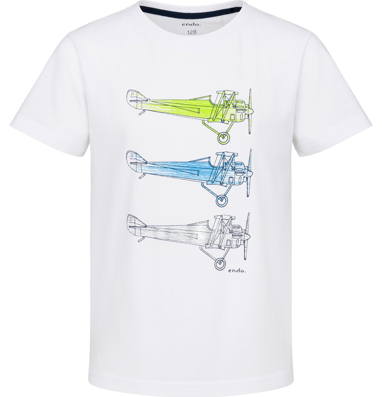 Endo - T-shirt z krótkim rękawem dla chłopca, z samolotami, biały, 2-8 lat C03G227_1