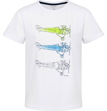 T-shirt z krótkim rękawem dla chłopca, z samolotami, biały, 2-8 lat C03G227_1