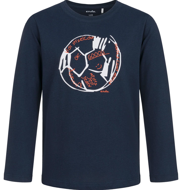Endo - T-shirt z długim rękawem dla chłopca, z piłką, granatowy, 9-13 lat C03G683_2