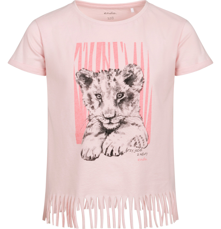 Endo - T-shirt z krótkim rękawem dla dziewczynki, z frędzlami na dole, z małym lwem, różowy, 2-8 lat D05G111_1