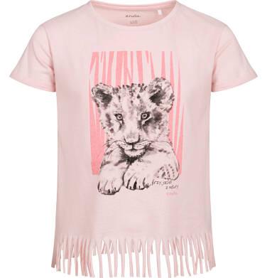 T-shirt z krótkim rękawem dla dziewczynki, ze ściągaczem, z małym lwem, różowy, 2-8 lat D05G111_1