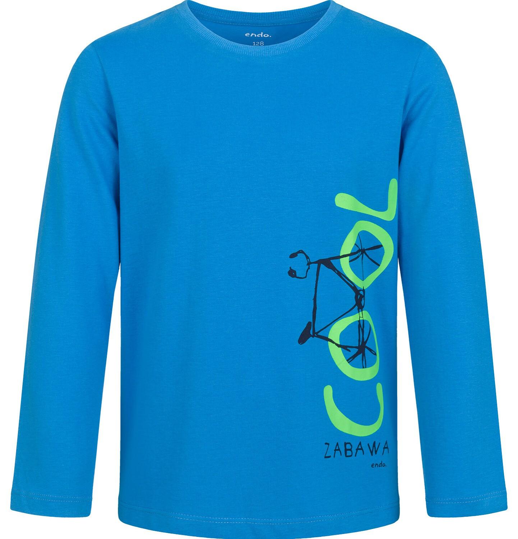 Endo - T-shirt z długim rękawem dla chłopca, z rowerem, niebieski, 9-13 lat C03G684_1