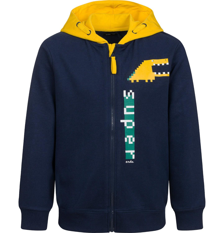 Endo - Bluza z kapturem dla chłopca, z kontrastowym kapturem, granatowa, 9-13 lat C04C045_1