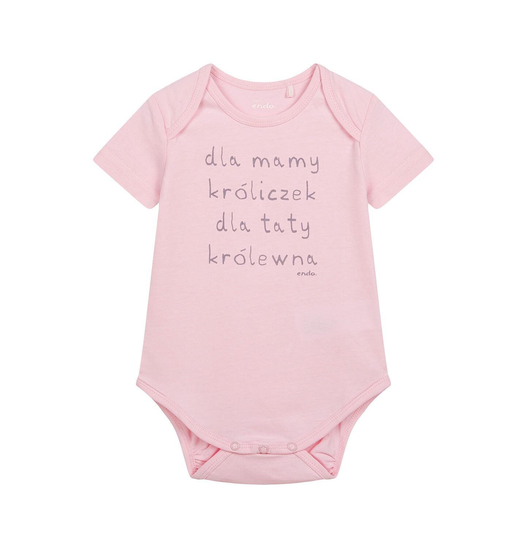 Endo - Body z krótkim rękawem dla dziecka do 2 lat, różowe N04M002_1